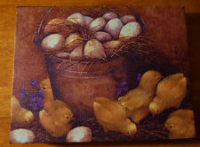 Country Farm Fresh Eggs Basket Chicks Painted Canvas Chicken Kitchen Sign Decor