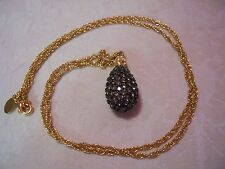 JOAN RIVERS Caviar Black Crystal Egg Pendant With Gold-tone Chain 28""