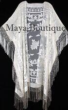 Ivory Kaftan Duster Fringe Jacket Kimono Opera Coat Burnout Velvet Maya Matazaro