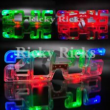 12 Light Up New Years Eve Party Supplies 2016 Glasses Glowing Eye LED Shades
