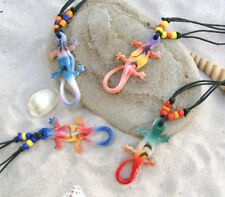 NEW 5 MIX COLOUR GECKO LIZARD NECKLACES SURFER SKATER PENDANT FREE POST / n292gy