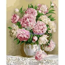Beauty Peony Flowers DIY Paint By Number Kit Digital Oil Painting Canvas 30*40cm