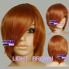 40cm Light Brown Heat Styleable Long Bang Layer Base Cosplay Wig 65_LLB