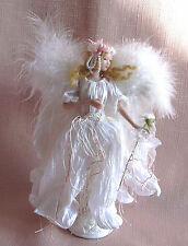 A WHITE ANGEL TASSEL DOLL Porcelain Head Torso & Arms on Stand , Feather Wings A