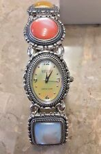 Ecclissi sterling silver watch with stones, mother of pearl face, flexible band