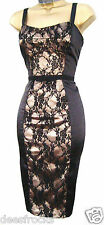SIZE 12 COCKTAIL EVENING DRESS WIGGLE SHIFT PENCIL LACE BLACK DITA #  US 8 EU 40