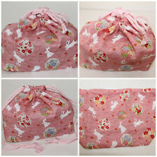 "Japanese KINCHAKU BAG FOR BENTO OR AS WRAPPING MATERIAL ""HANAMARU USAGI"""