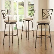 Avalon Quarter Cross Swivel Counter Barstool Set of 3 Stool Seat Chair Kitchen