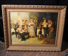 French Antique Oil Painting Group Peasant Scene Art