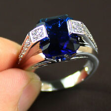 Size 8 Deluxe Mens Jewelry 925 Silver Square Blue Sapphire Band Ring NOT Fade