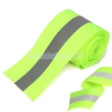 Silver Reflective Tape Safty Strip Sew on Lime Green Synth Fabric 3 Meters