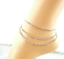 Ladies White Gold Filled Triple Chains Crystal Beads Anklet, 1 piece