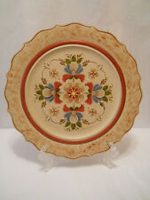 NORWEGIAN WALL ART ROSEMALING 12 inch PLATE TAN BACKGROUND ARTIST SIGNED