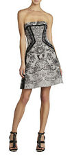 "$448 BCBG BLACK COMBO ""SOPHIANI "" LACE PRINT STRAPLESS DRESS NWT 6"