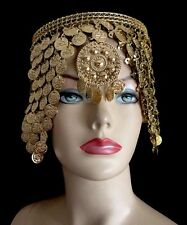 Cleopatra Headpiece Crown Made Of Egyptian Golden Coins Belly Dance