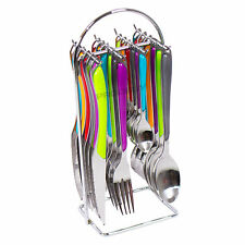24 Piece Amefa Multi-Coloured Stainless Steel Cutlery Set Hanging Storage Caddy