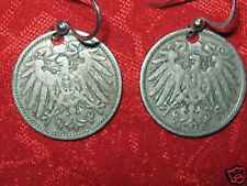 VINTAGE ANTIQUE 20MM GERMAN GERMANY EAGLE COIN CHARM DANGLE EARRINGS