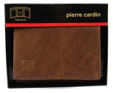 NEW NIB PIERRE CARDIN MEN'S LEATHER CREDIT CARD WALLET TRIFOLD BROWN 5980-02