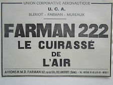9/1936 PUB UCA AERONAUTIQUE BLERIOT MUREAUX AVION FARMAN 222 ORIGINAL FRENCH AD