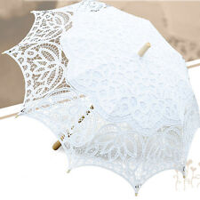 Lace Bridal Girls Parasol Wedding Party Umbrella Handmade Craft White