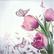 4 Single Table Party Paper Napkins for Decoupage Decopatch Butterfly & Tulips