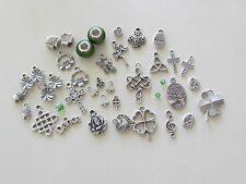 DIY:35+ SP ST.Patty/Celtic Irish charms:Triquetra,Claddagh,Shamrocks,Knots Rose+