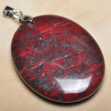 """Extremely Red Natural Bloodstone 925 Sterling Silver Clasp 2"""" Pendant #P09897"""