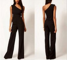 Sexy Womens Black One Shoulder Jumpsuit Rompers Bell-bottoms Loose Overall Pants