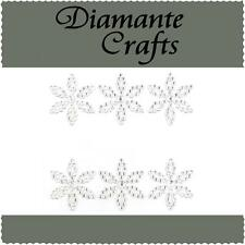 6 Clear Diamante Flowers Vajazzle Rhinestone Body Art Self Adhesive Gems