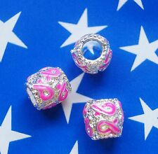 Pink Breast Cancer Ribbon AWARENESS European Barrel Style Charms Lot of 3