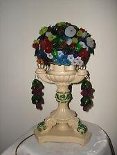 """Antique 1923 CZECH lamp beaded glass flowers blackberry basket shade 15"""" tall"""