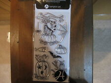 Halloween Critters Clear Stamps - Hampton Art Outlines 8 Pcs. Owl, Bat, Cat NEW!