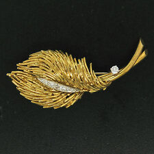 Estate 18k Solid Yellow Gold .26ctw F VS1 Diamond Large Textured Leaf Brooch Pin