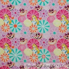 BonEful FABRIC FQ Cotton Quilt Purple Pink Alice in Wonderland Heart Disney Cat