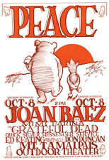 Joan Baez with the Grateful Dead Poster, Peace, Live in Concert, Marin County