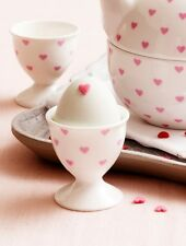 Set of 2 Bombay Duck Egg Cups. Gift Boxed Pair. Bisous - White with Pink Hearts