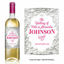 PERSONALISED white baroque wine bottle label Congratulations Wedding Engagement