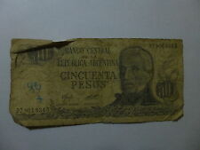 Old Argentina Paper Money Currency - #301 1976-78 50 Pesos No Ley Well Circ. ink