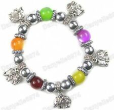 ELEPHANT CHARM BRACELET multi colour BEAD lucite MOONGLOW antique silver tone