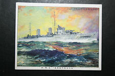 HMS ARETHUSA   Royal Navy  Cruiser  #  Original Large 1930's Colour Card