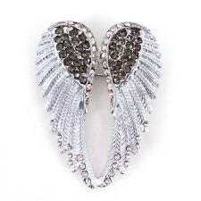 Lovely Silver Grey Angel Wing 5cm Long Use Swarovski Crystal Brooch Pin Scarves