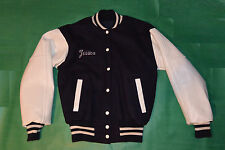 WOMEN'S NAVY BLUE WOOL/WHITE LEATHER SLEEVES VARSITY JACKET! 'JESSICA'! USA! 38