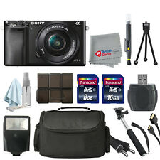 Sony Alpha a6000 Mirrorless Digital Camera Black + 16-50mm Lens 24GB Deluxe Kit