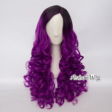 60CM Lolita Black Mixed Purple Women Long Curly Party Cosplay Wig Heat Resistant