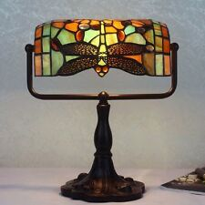 Amber & Green Dragonfly Art Deco Tiffany Style Stained Glass Table Desk Lamp