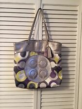 Authentic Coach Julia Opt Art Scarf Print Lilac Silver Sateen Tote/Purse