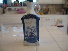 Pretty Vintage Delft Blue Oil Vinegar Cruet Bottle Wth Windmill Scene Blue Onion