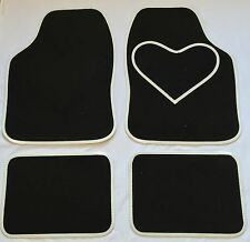 BLACK CAR MATS WHITE HEART HEEL PAD FOR PEUGEOT 106 107 108 206 206CC 207 208