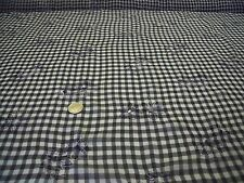 CRINKLE CHIFFON EMBROIDERED FLORAL GINGHAM-BLACK/WHITE -DRESS FABRIC-1.0 METRE