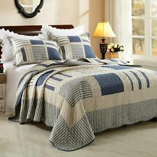 Quilted 100%Cotton Coverlet / Bedspread Set Queen King Size Bed 230x250CM Blue